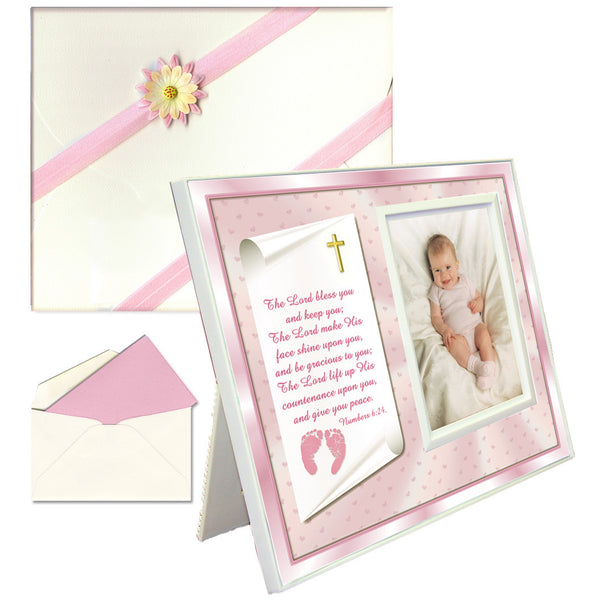 "Baptism, Dedication, Christening Gifts Baby Blessing Picture Frame -- ""Numbers 6:24-26"" - Girl"