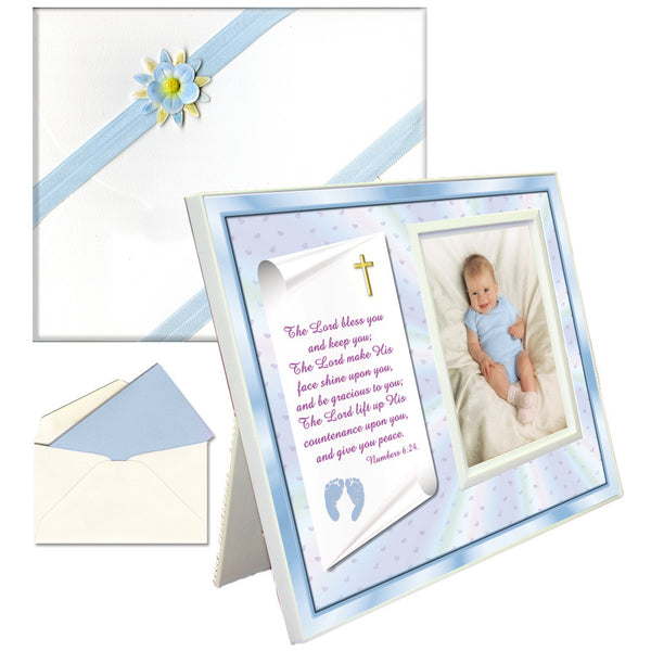 "Baptism, Dedication, Christening Gifts Baby Blessing Picture Frame -- ""Numbers 6:24-26"" - Boy"