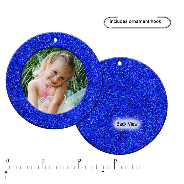 Mini Magnetic Glitter Christmas Photo Ornaments - 6-pack, Round