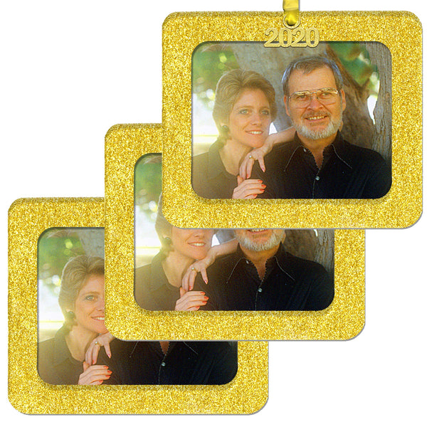 2020 Magnetic Glitter Christmas Photo Frame Ornament with Non-Glare Photo Protector, Horizontal 3-Pack