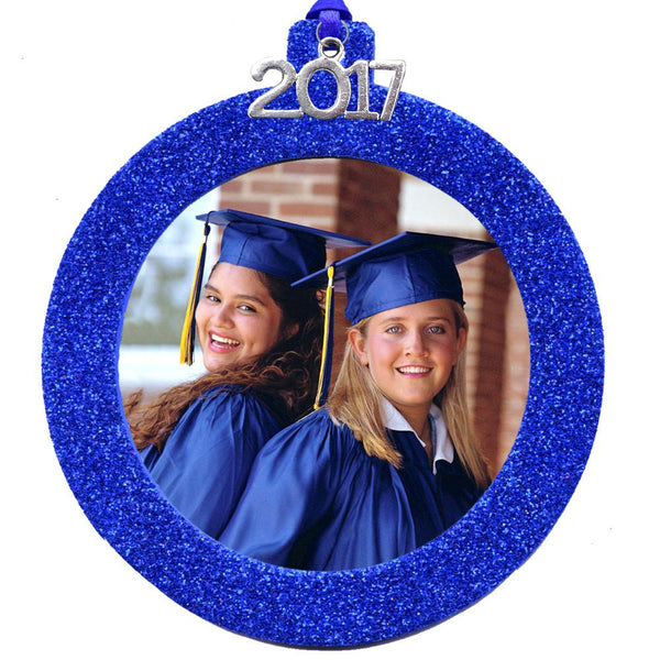 2017 Magnetic Glitter Christmas Photo Frame Ornament, Round