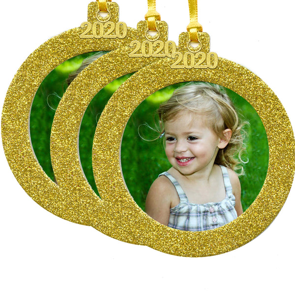 2020 Magnetic Glitter Christmas Photo Frame Ornament with Non-Glare Photo Protector, Round 3-Pack