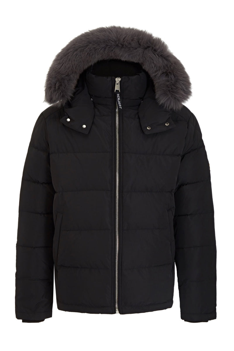 Benjart Fur Puffer Jacket - Noir (Grey Fur)