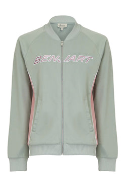 Benjart for Her Lux Racer Track Top - Grey/Pink