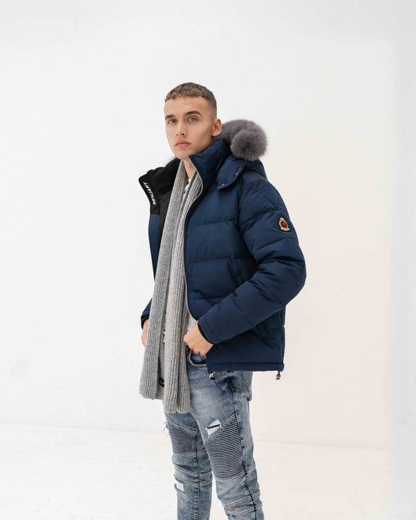 Benjart Fur Puffer Jacket - Navy