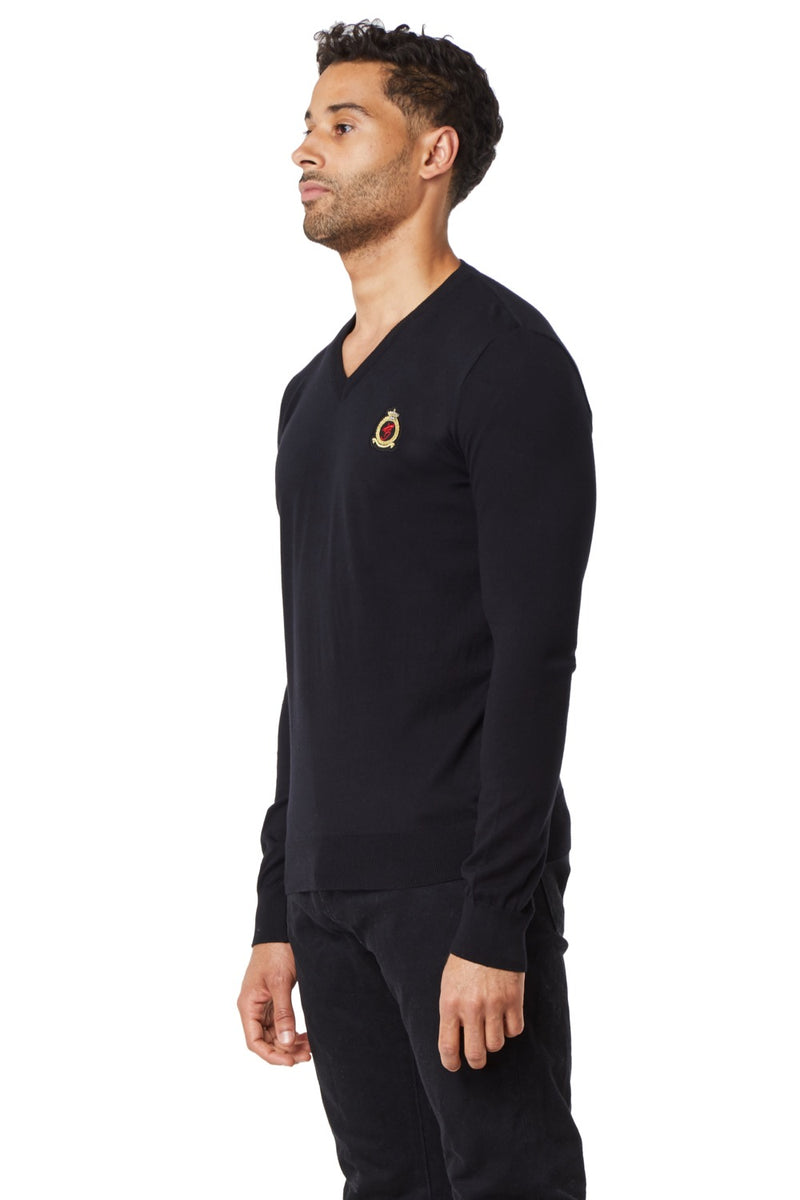 HrH V-Neck Jumper - Black