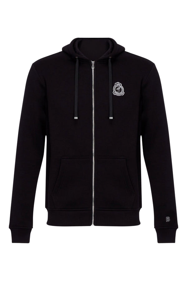 Benjart HRH chrome zip-up hoodie - Black
