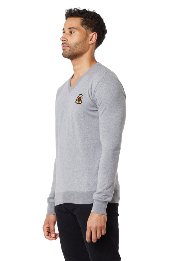 HrH V-Neck Jumper - Grey