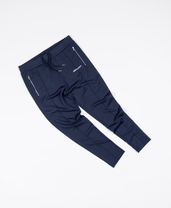 Benjart Pin Tucked Joggers - Navy