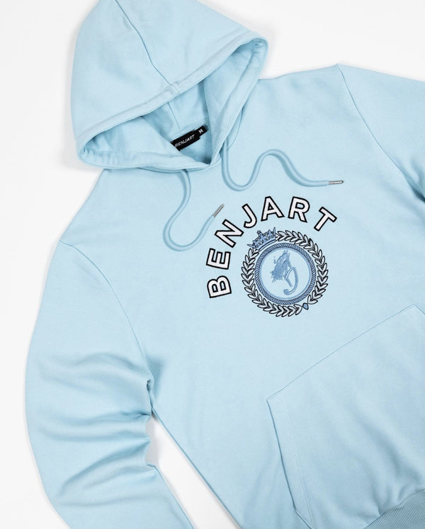Benjart Tonal Regal Hooded Pullover - Crystal Blue