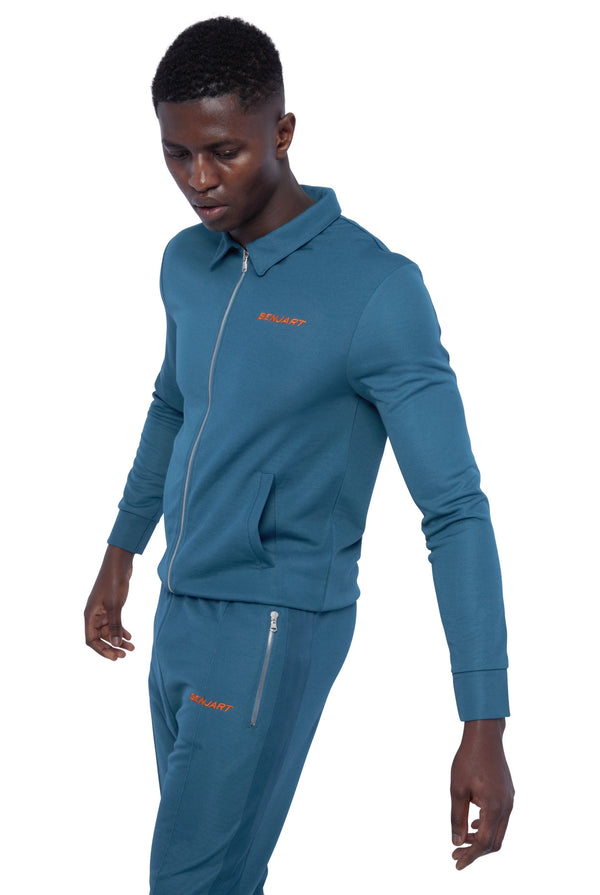 Benjart Pin Tucked Tracktop - Blue Green with orange text  - PREORDER - Ships 5th December
