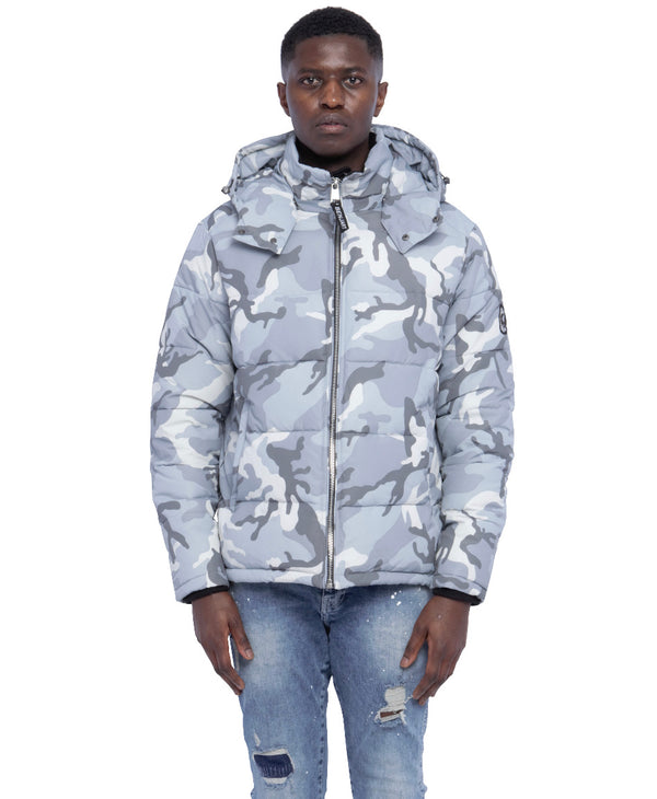 Benjart Camo Puffer Jacket - Ice Grey - SHIPS 17TH NOVEMBER