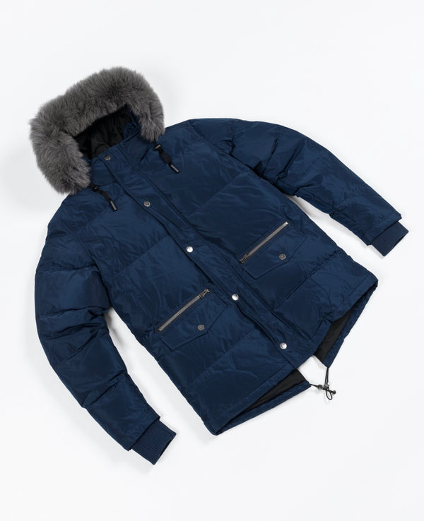 Knightsbridge 2.0 Fur Puffer Jacket - Navy