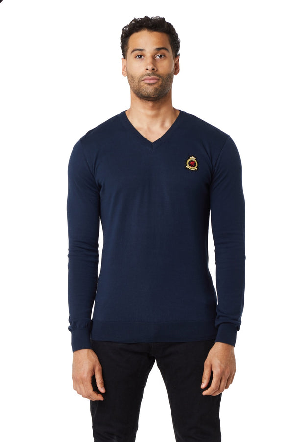 HrH V-Neck Jumper - Navy