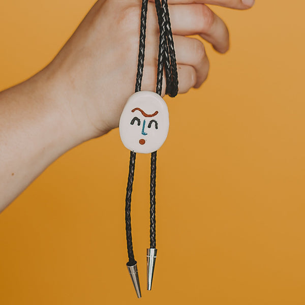 Ceramic Bolo Tie - Unibrow Pal - Beetle Ink Co.