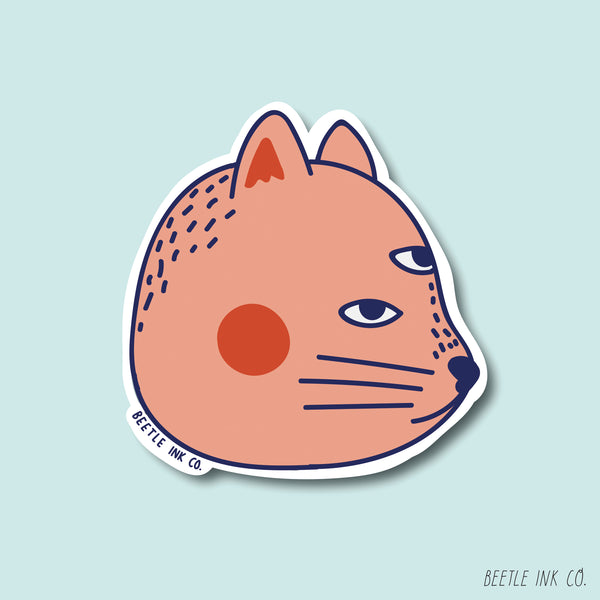 Blushing Cat Vinyl Sticker Set - Beetle Ink Co.
