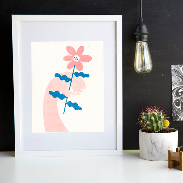 Happy Flower Art Print - Risograph - Beetle Ink Co.