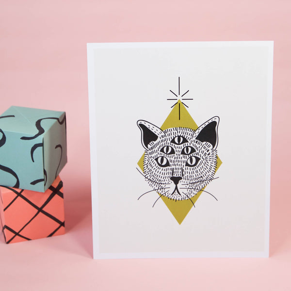5-Eyed Cat Art Print