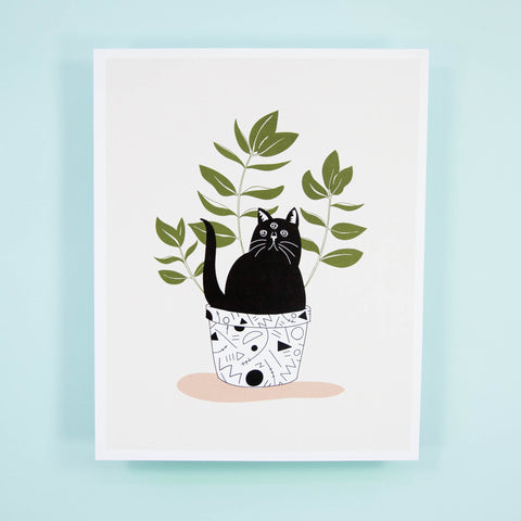 Cat Plant Print - Beetle Ink Co.