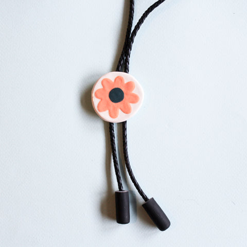 Ceramic Bolo Tie - Pink Daisy - Beetle Ink Co.