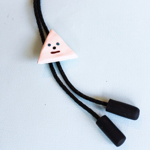 Ceramic Bolo Tie - White Triangle - Beetle Ink Co.