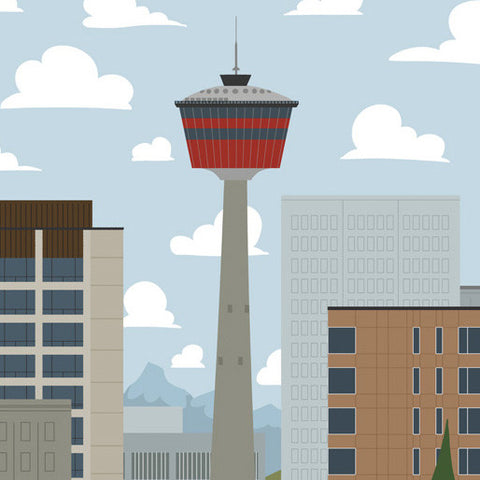 Calgary - Calgary Tower - Art Print - Snow Alligator by Jason Blower