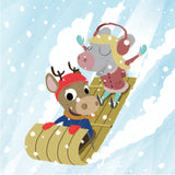 Mouse and Deer - Sledding - Art Print - Snow Alligator by Jason Blower