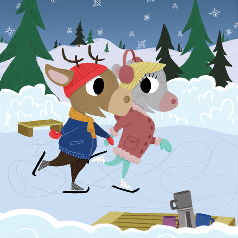 Mouse and Deer - Skating - Art Print - Snow Alligator by Jason Blower