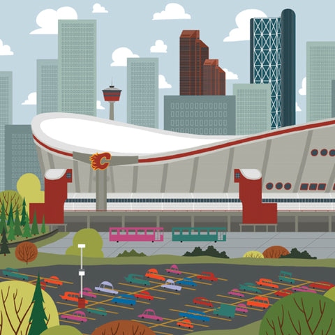 Calgary - Saddledome - Art Print - Snow Alligator by Jason Blower