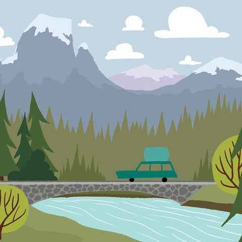 We're Going Camping - Bridge - Art Print - Snow Alligator by Jason Blower