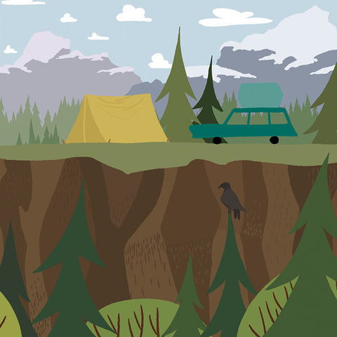 We're Going Camping - Best View - Art Print - Snow Alligator by Jason Blower