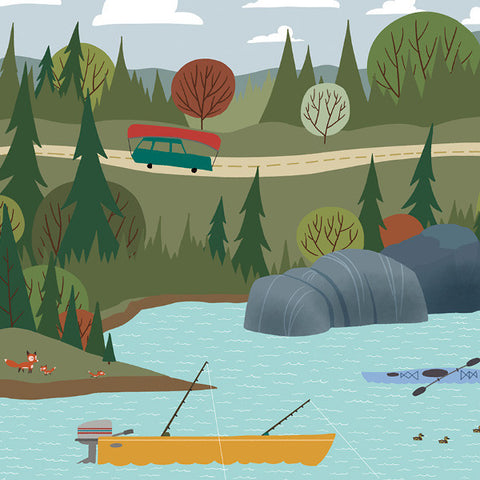 We're Going Canoeing - On the Road - Art Print - Snow Alligator by Jason Blower