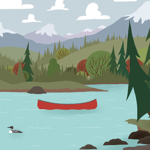 We're Going Canoeing - Lake Crossing - Art Print - Snow Alligator by Jason Blower