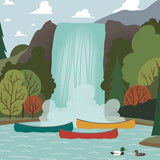 We're Going Canoeing - Waterfall - Art Print - Snow Alligator by Jason Blower