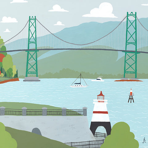 Vancouver - Lions Gate Bridge - Art Print - Snow Alligator by Jason Blower