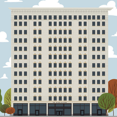 Edmonton - McLeod Building - Art Print - Snow Alligator by Jason Blower