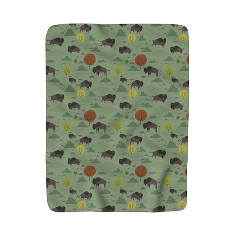 Bison Sherpa Fleece Blanket