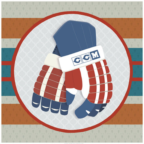 Hockey Gloves Print - Art Print - Snow Alligator by Jason Blower