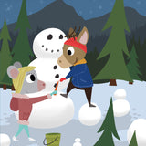 Mouse and Deer - Snowman - Art Print - Snow Alligator by Jason Blower