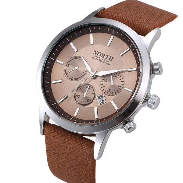 NORTH Brand Wristwatch With Leather Strap