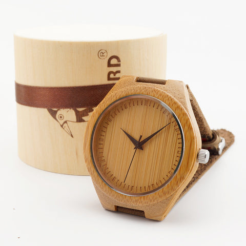 BOBO BIRD Miyota 2035 Movement Wristwatches Genuine Leather Bamboo Wooden Watches for Men and Women Best Gifts