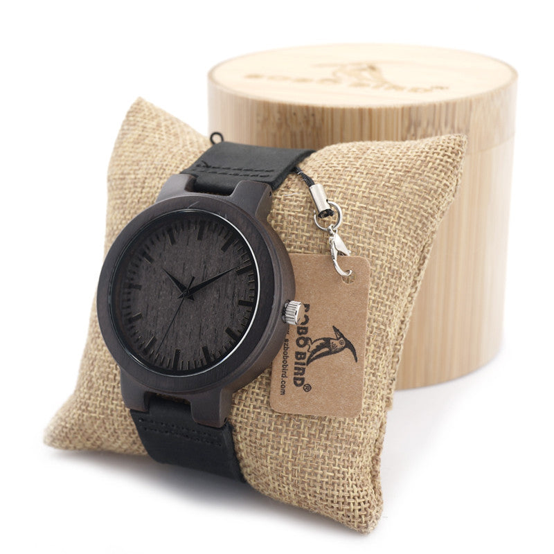 Men's Watches Retro Quartz Battery Wood Watch Real Leather Band Bamboo Wood Wristwatches