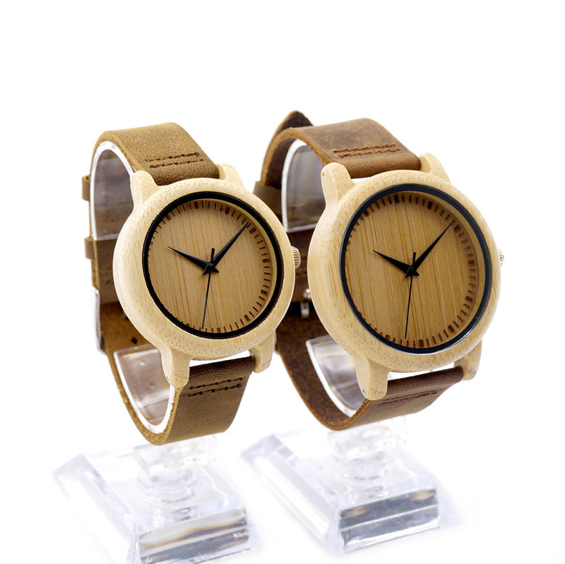 Bobobird Brand Lovers Wooden Bamboo Quartz Watch Real Leather Strap Men's Watches