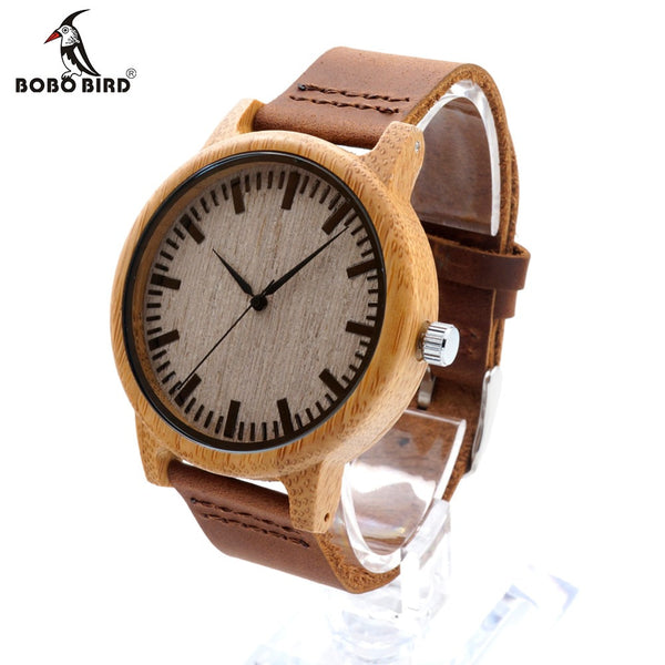 BOBO BIRD Design Analog Bamboo Wood Watches Top luxury brand With Real Leather Strap For Gift