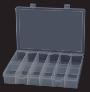 Model LP12-Clear Large 12 Compartment Box - ShopStorageCabinets.com