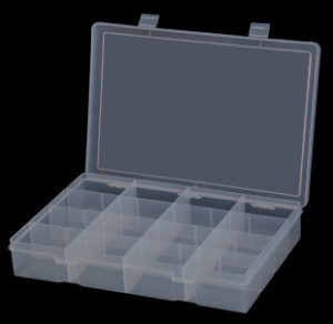 Model LP16-Clear Large 16 Compartment Box - ShopStorageCabinets.com
