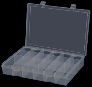 Model LP18-Clear Plastic 18 Compartment Box - ShopStorageCabinets.com