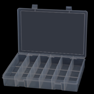 Model LP6-Clear Large 6 Compartment Box - ShopStorageCabinets.com