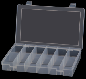 Model SP12-CLEAR Small 12 Compartment Box - ShopStorageCabinets.com