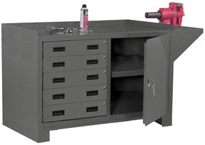 Workbench with lockable drawers and storage - ShopStorageCabinets.com